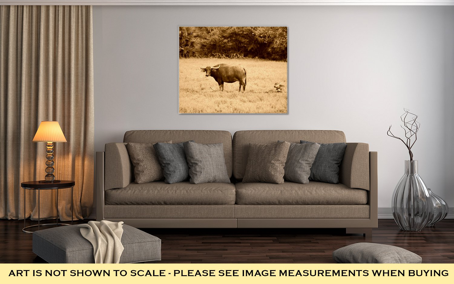 Ashley Canvas Thai Buffalo Walk Over The Field Go Back Home With Sunset Life Machine Of, Wall Art Home Decor, Ready to Hang, Sepia, 16x20, AG6343402