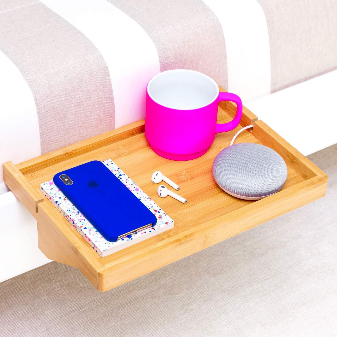 BedShelfie The Original Bedside Shelf - 9 Colors / 2 Sizes - AS SEEN ON Business Insider (Regular Size, Natural Bamboo)