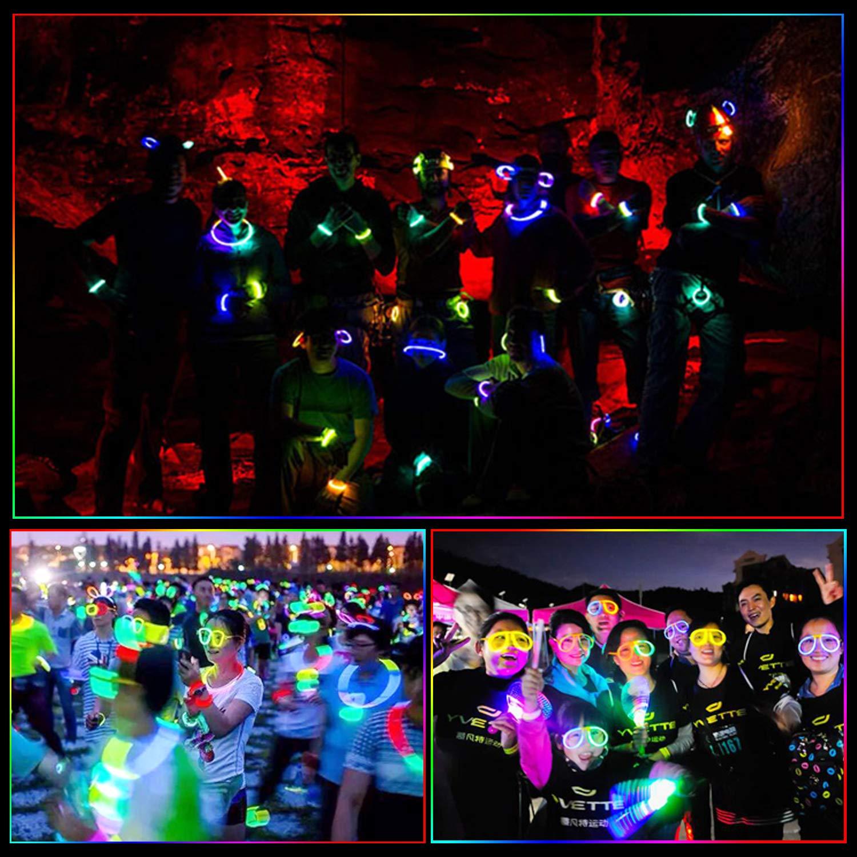 222 Braccialetti Luminosi Winthai Starlight Fluo Party Glow Stick Bambina Glow Sticks Bastoni Bulk con Connettori per Collana Bagliore per Farfalla e Collana Bagliore Gadget Compleanno Bambini