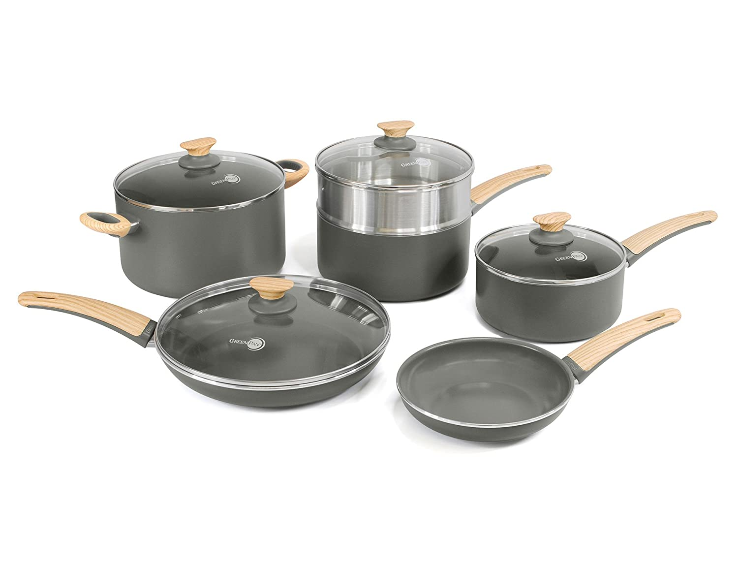 GreenPan Wood-Be 10 Piece Aluminum Ceramic Non-Stick Cookware Set