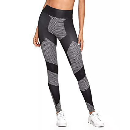 86e0c61094 RIOJOY Yoga Pants Exercise Fitness Leggings for Women Laser Reflective High  Waisted Stretch Workout Gym Trousers