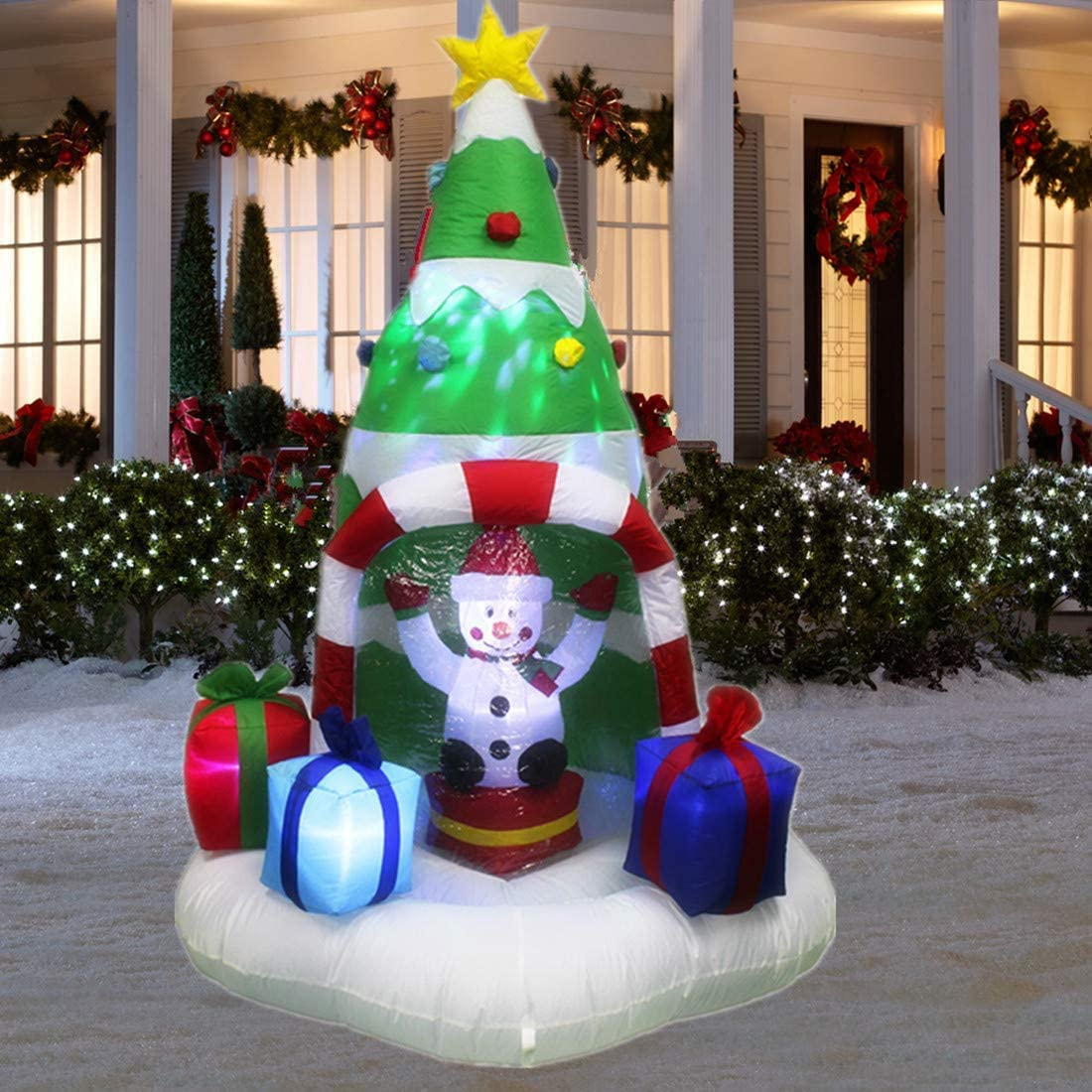 ANOTHERME 7 Feet Christmas Inflatable Tree with Rotating Snowmen and Twinkle Lights Decor, Outdoor Indoor Holiday Yard Decoration, Air Blown LED Lighted
