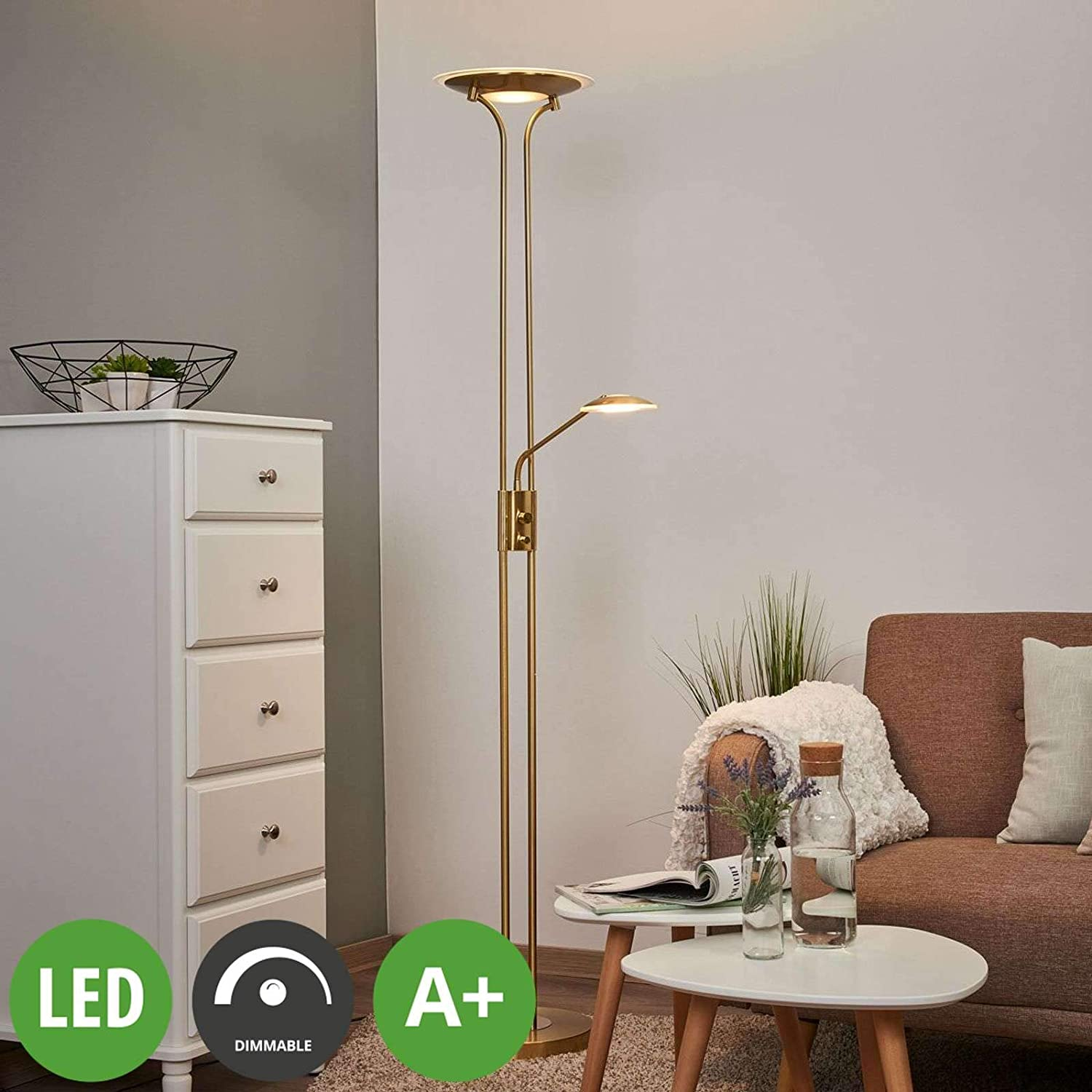 Lindby Led Stehlampe Aras Dimmbar In Gold Messing Aus Metall