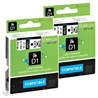 2x Markurlife Ruban pour Dymo D1 45013 S0720530, Noir sur Blanc, 12mm x 7m étiquette, Compatible avec Dymo LabelManager 160, 360D, 420P, 450D, 500TS, Wireless PnP, LabelPoint 250, LabelWriter 450 DUO, Rhino