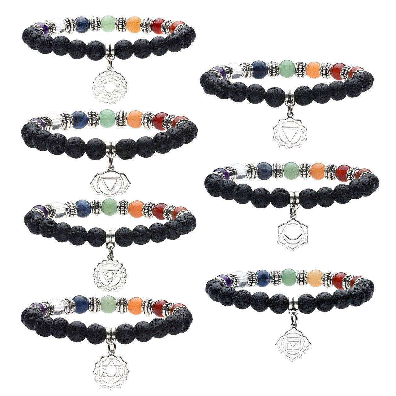 Jovivi 8mm-7 Chakra Pierres Naturelles Laves Perles d\'Energie Bracelet Extensible Elastique Tibétain Bouddhiste avec Pendentif - Set