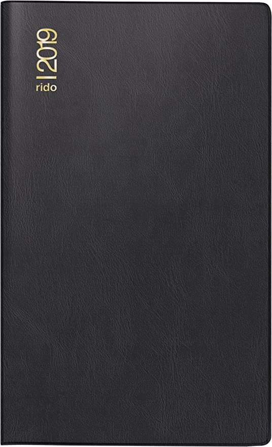 rido/idé 704689290 Taschenkalender/Plankalender M-Planer, 2 Seiten = 1 Monat, 87 x 153 mm, Kunststoff-Einband schwarz, Kalendarium  2019