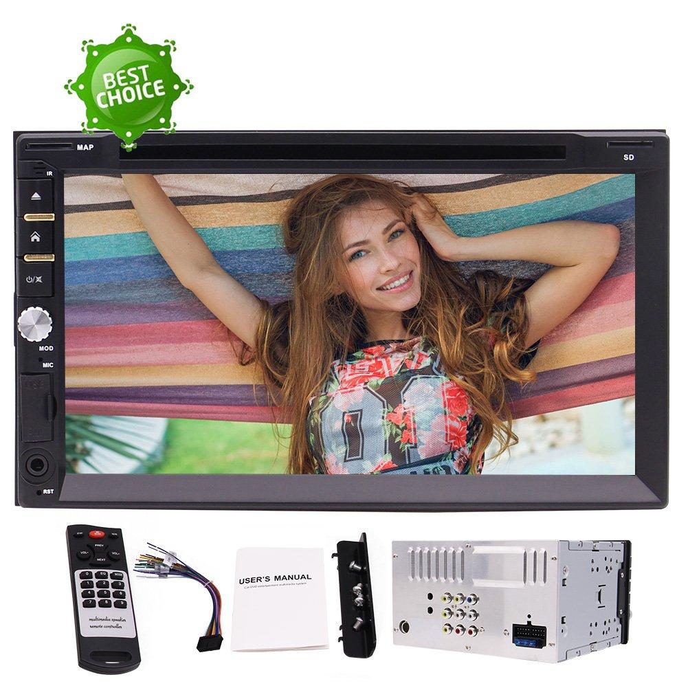 パーソナライズされたUIの3つの選択肢、カラフルなボタン+ワイヤレスリモコンの7つの選択肢をダッシュステレオで2ディンユニバーサルカーDVDプレーヤーラジオのUSB SD BluetoothのAUX 7インチの容量性タッチスクリーン B07BWFBG4H