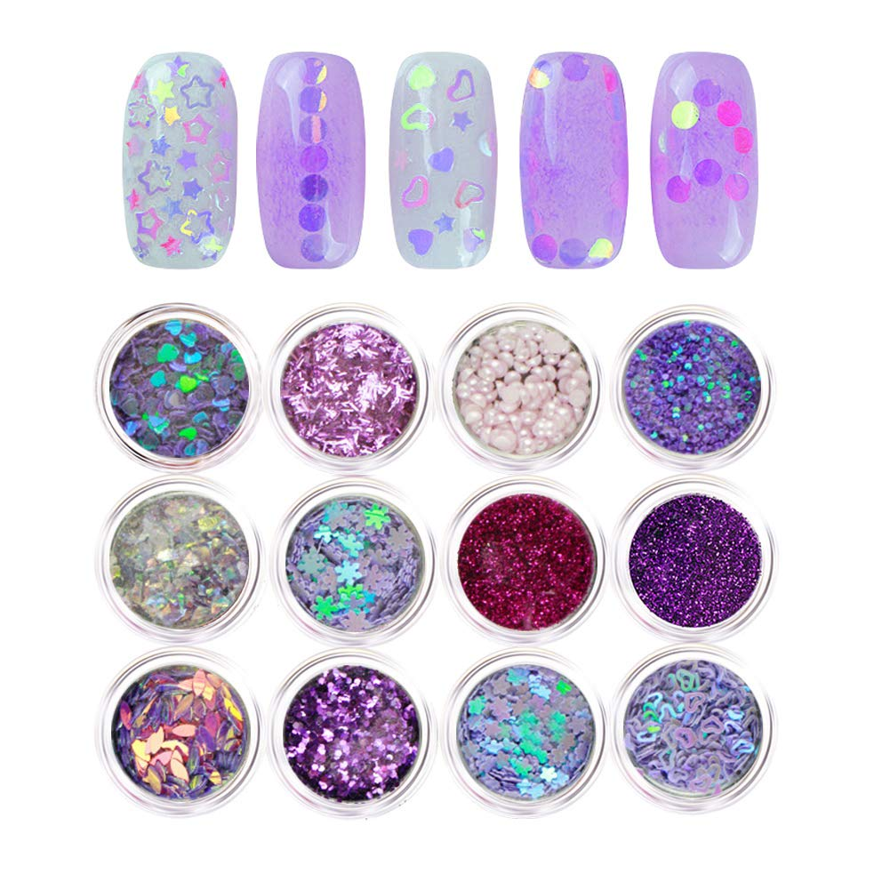 NICOLE DIARY Nail Art Sequins Sliver Series Flakes 3D Glitter Nail Tips Mixed Acrylic Paillette Butterfly Design Flower DIY Manicure Nail Art Decoration 12 Boxes (04)