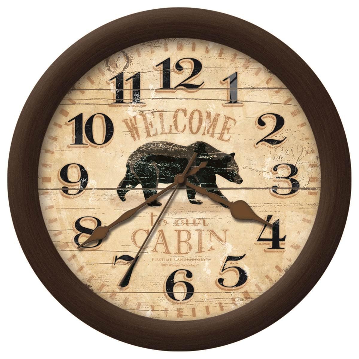 Amazon.com: Rustic Cabin Style Home Decor Bear Wall Clock: Home ...