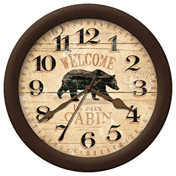 Amazon.com: Rustic Cabin Style Home Decor Bear Wall Clock: Home ...