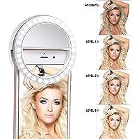 Meer Clip en uno Mismo la luz del Anillo [Batería Recargable de] con LED Flash Anillo Selfie Clip de 3 Niveles de…