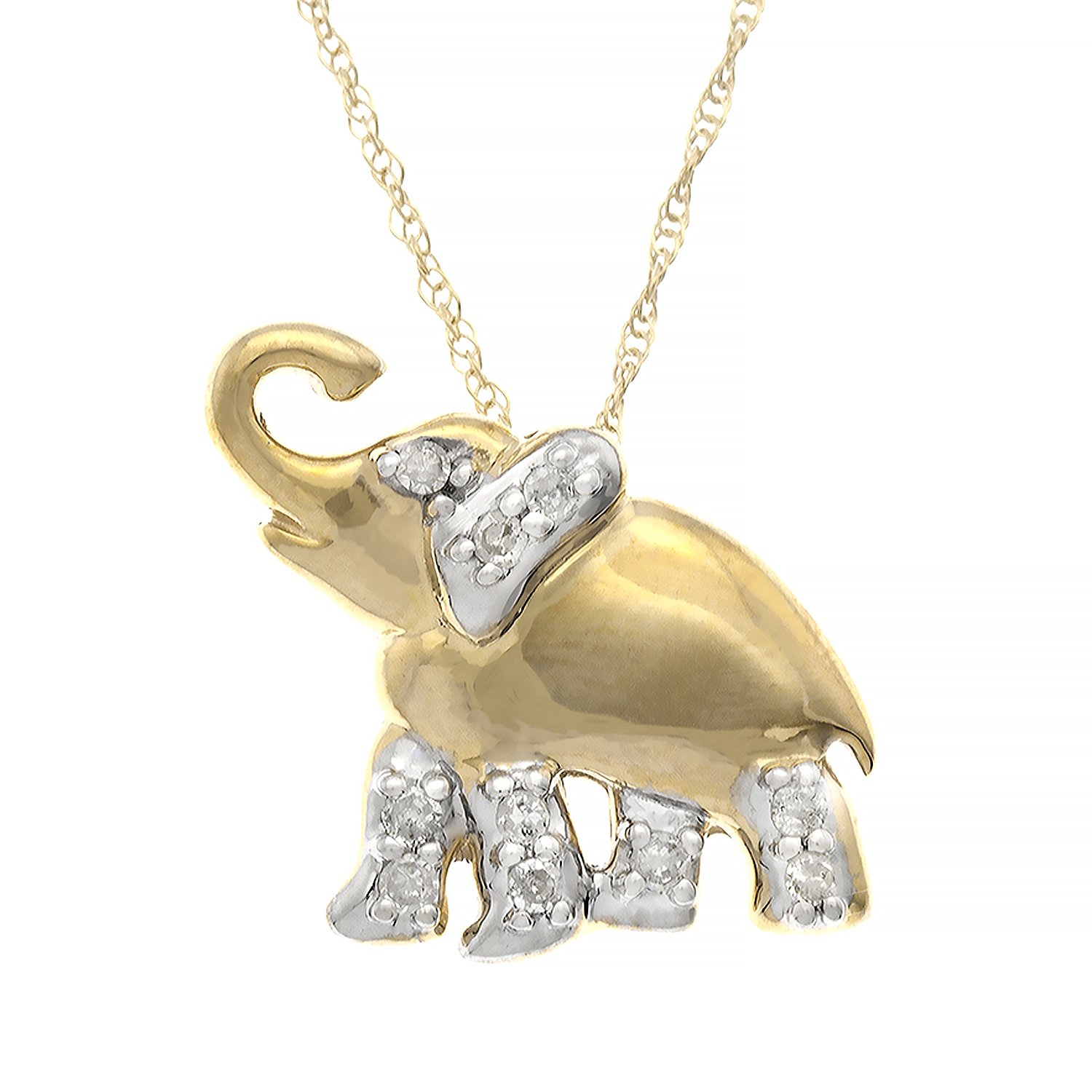 JewelExclusive 10K Yellow Gold 1/10cttw Natural Round-Cut Diamond (I-J Color, I2-I3 Clarity) Elephant Pendant-Necklace, 18''