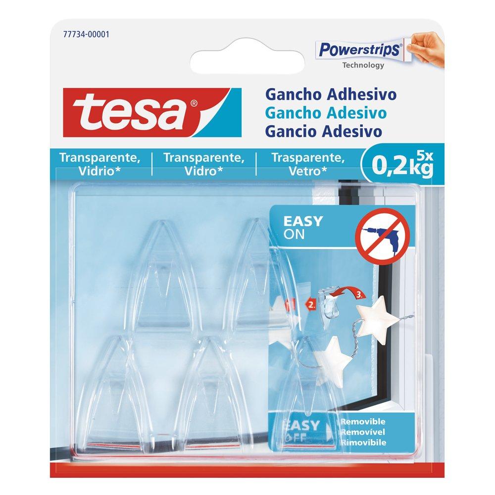 Tesa 77734-00001-00 Gancio Adesivo per Trasparenti e Vetro 0,2 kg, Set di 5 Pezzi