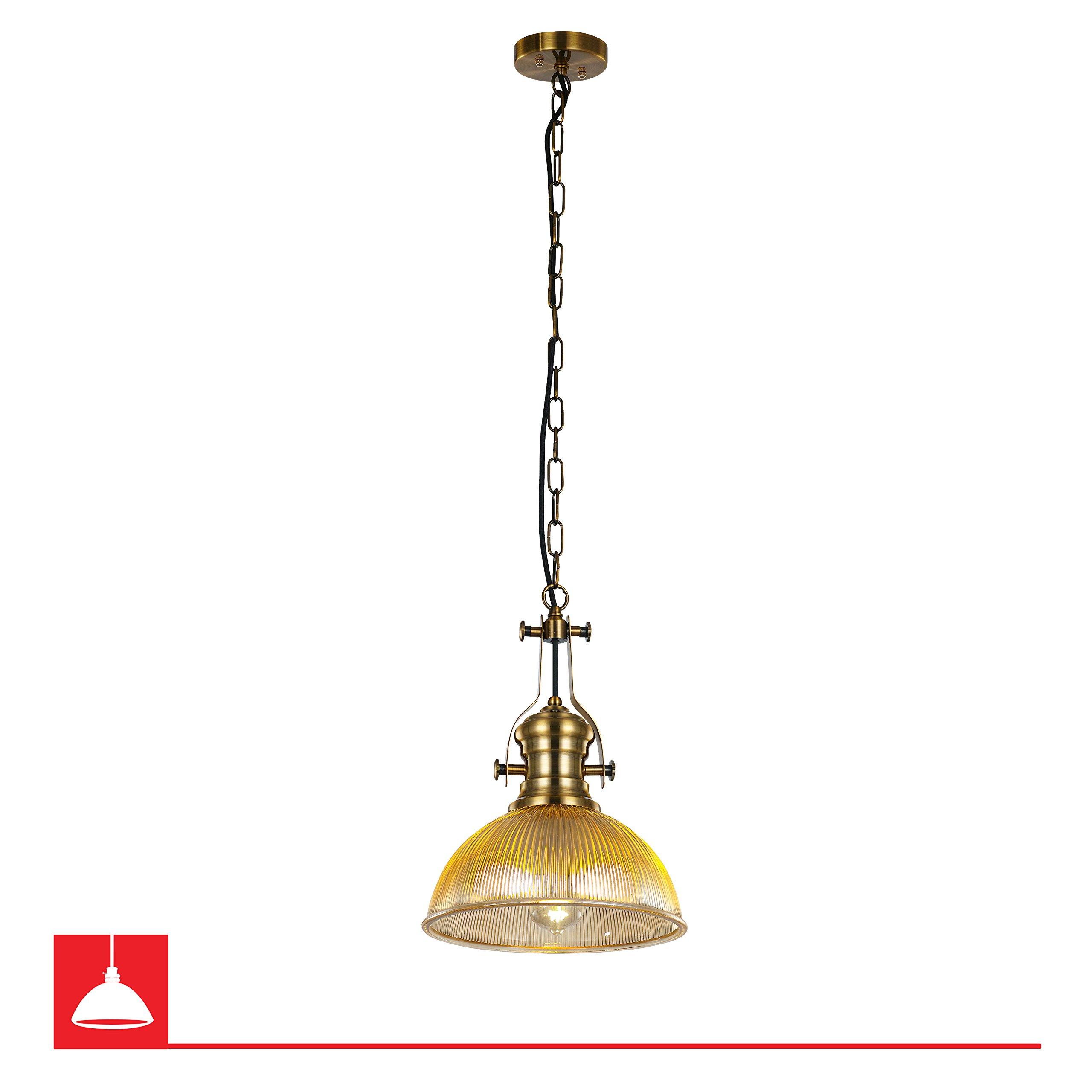 Prattville Single Bulb Amber Glass Pendant Light Fixture – Antique Brass