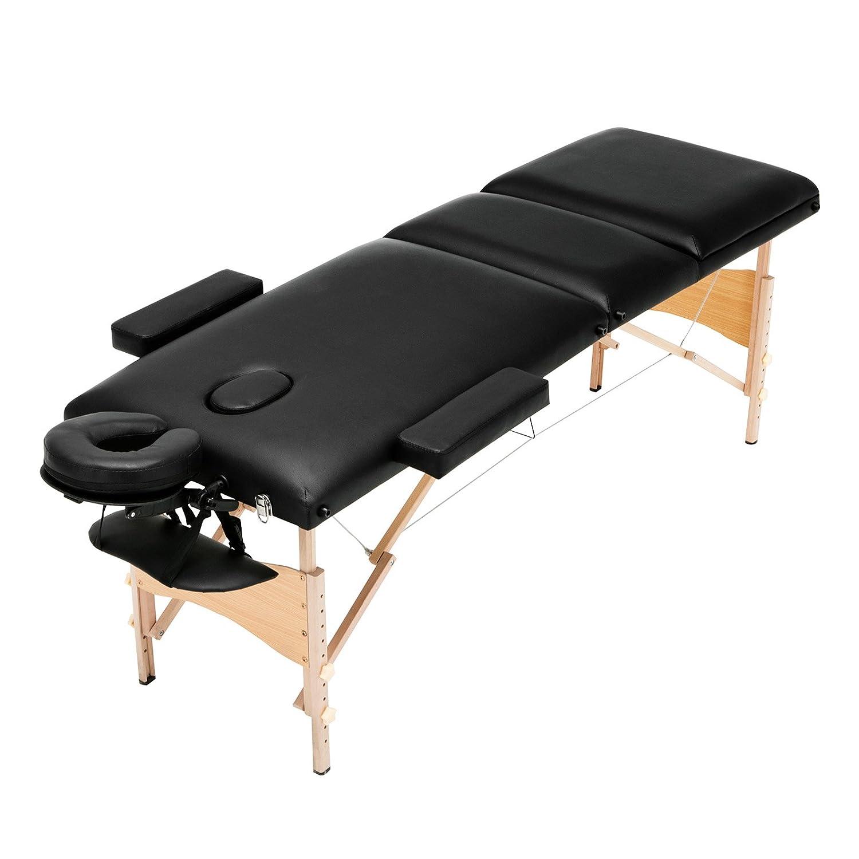 Uenjoy Folding Massage Bed, 84 Professional 2 Fold Lash Bed with Head Armrest, Black