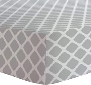 Kushies Crib Sheet Soft 100 Breathable Cotton Flannel Made In Canada Grey Lattice Amazon Ca Baby