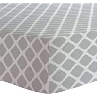 """Kushies Changing Pad Cover for 1"""" pad, 100% breathable cotton, Made in Canada, Grey Lattice"""