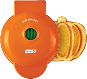 Dash DMWP001OR Machine for Individual, Paninis, Hash Browns, & other Mini waffle maker, 4 inch, Orange Pumpkin