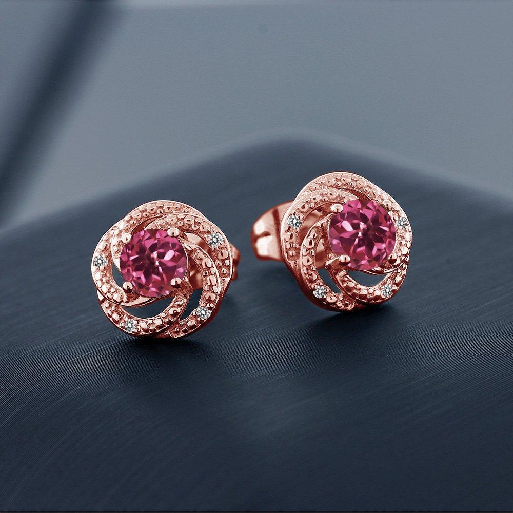 Gem Stone King 1.06 Ct Round Pink Tourmaline White Diamond 18K Rose Gold Plated Silver Flower Design Earrings