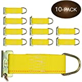 10-Pack E-Track Rope Tie-Offs 2 x 6 Yellow Rope Tieoff Cargo Tie-Downs w/ Etrack Spring Fittings for Load Securement Tiedown in Pickups Trailers Trucks Boats Vans Cars by DC Cargo Mall