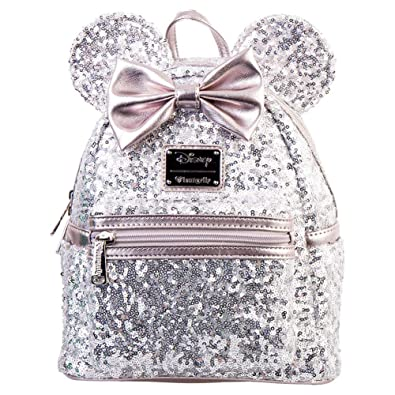 b8065e95dab Image Unavailable. Image not available for. Color  Loungefly Disney Minnie  Mouse Silver and Pink Sequin Mini Backpack WDBK0645