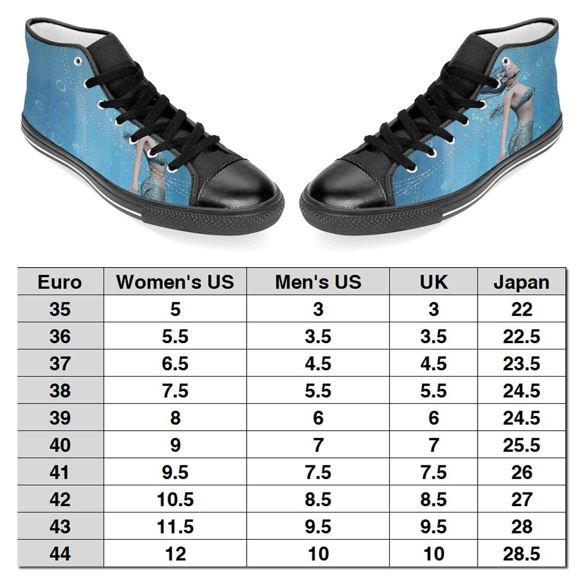 JIFHS Mermaid Fishtail Floating Bubbles Womens Casual High Top Canvas Shoes