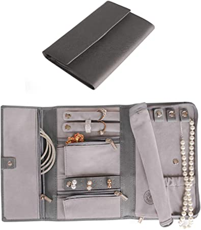Estuche de Viaje para Joyas de Cuero Saffiano - Organizador de Joyería [Petite], por Case Elegance: Amazon.es: Joyería