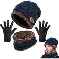 LYworld Bufanda Gorro Guantes Beanie Unisexo Set de Bufanda Conjunto de Guantes Táctiles Antideslizante Punto Sombreros Invierno Regalos Hombre Mujer