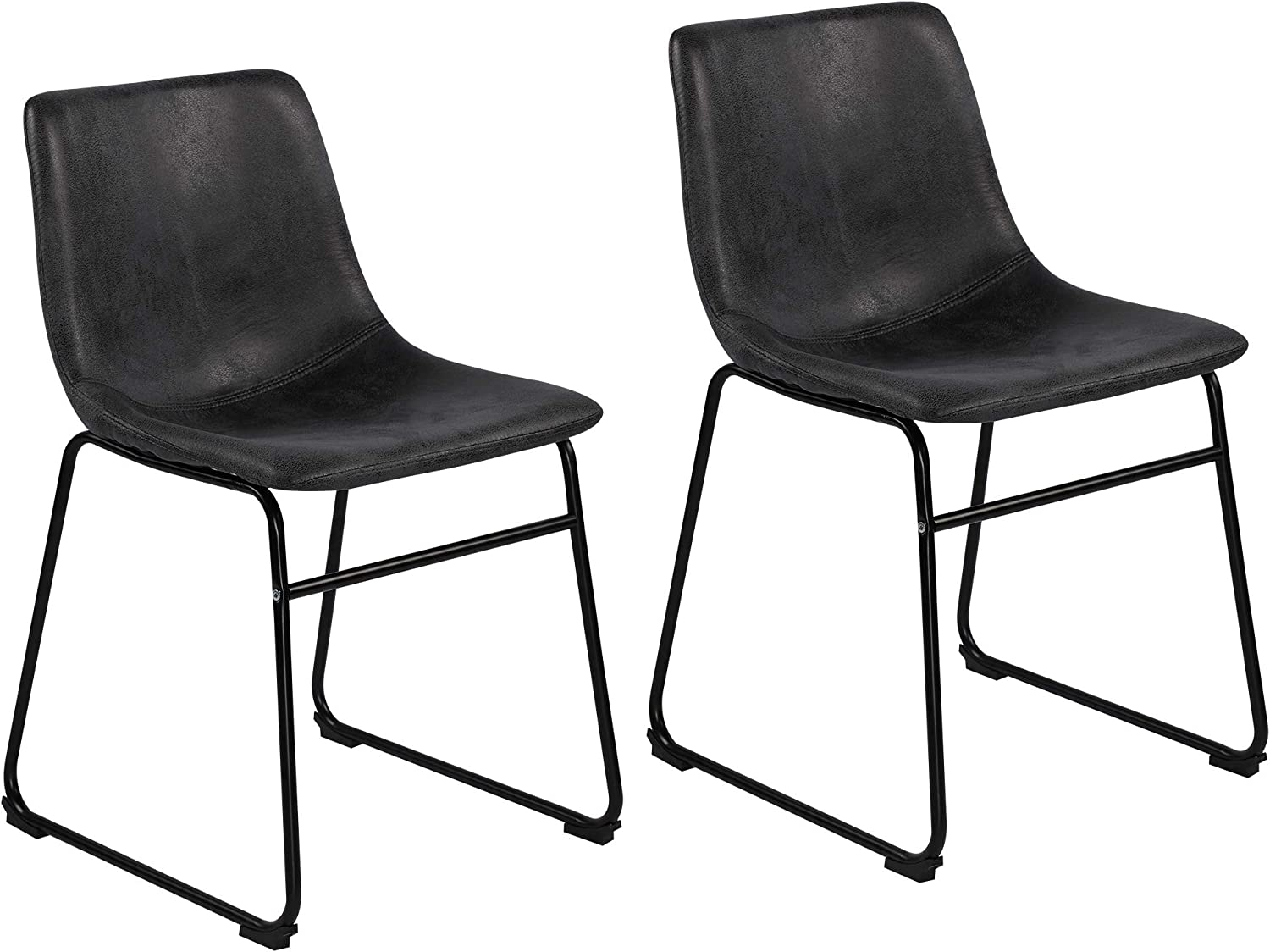 Amazon Com Lssbought Vintage Dining Chairs With Pu Leather Set Of 2 Gray Chairs