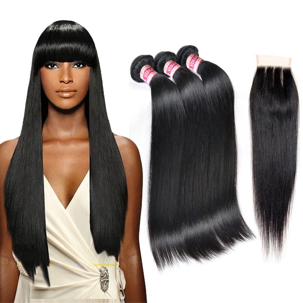 Fabeauty Hair 7A Brazilian Virgin Bundles 3 Closure With Un Now Award-winning store on sale