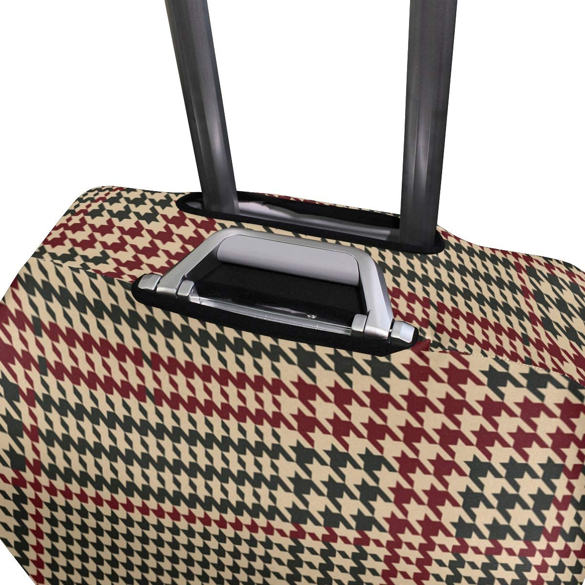 Travel Luggage Cover Geometric Houndstooth Red Black Color Suitcase Protector