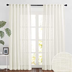 RYB HOME Semi Sheer Curtains 84 inches Long Linen Textured Blend Light Glare Filtering Drapes for Living Room Bedroom Dining Christmas Decor, Natural, 52 x 84 inch Length, 1 Pair
