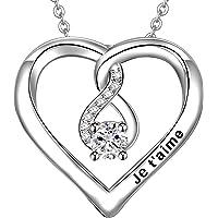 LOVORDS Collier Femme Gravé en Argent 925/1000 Pendentif Cœur Cadeau Maman Fille Amoureux Romantique pour Elle