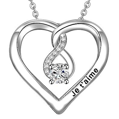 3f7109b117e46 LOVORDS Collier Femme Gravé Je t'aime en Argent 925/1000 Pendentif Cœur et