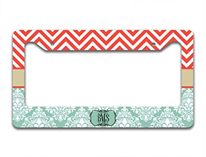 Amazon.com: Monogrammed custom license plate frame - Coral chevron ...