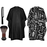 Salon Barber Cape with Snap Closure, Frcolor 2 Pack Professional Hair Cutting Cape with Neck Duster Brush and Black Hair…