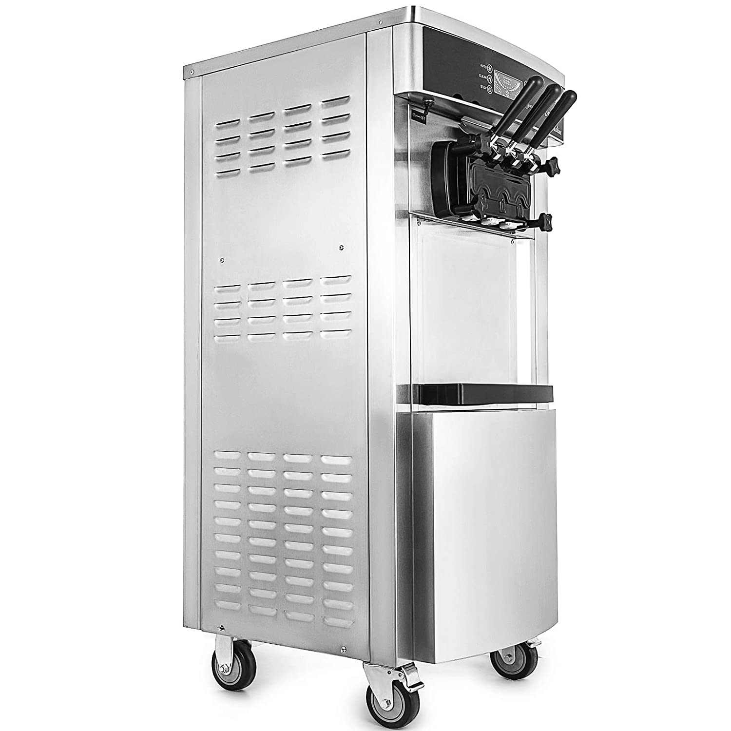 Happybuy 2200W Soft Ice Cream Machine Commercial 5.3-7.4Gallons/H Ice Cream Machine AUTO Clean Function Vertical Suitable for Restaurants Bars Cafes Bakeries