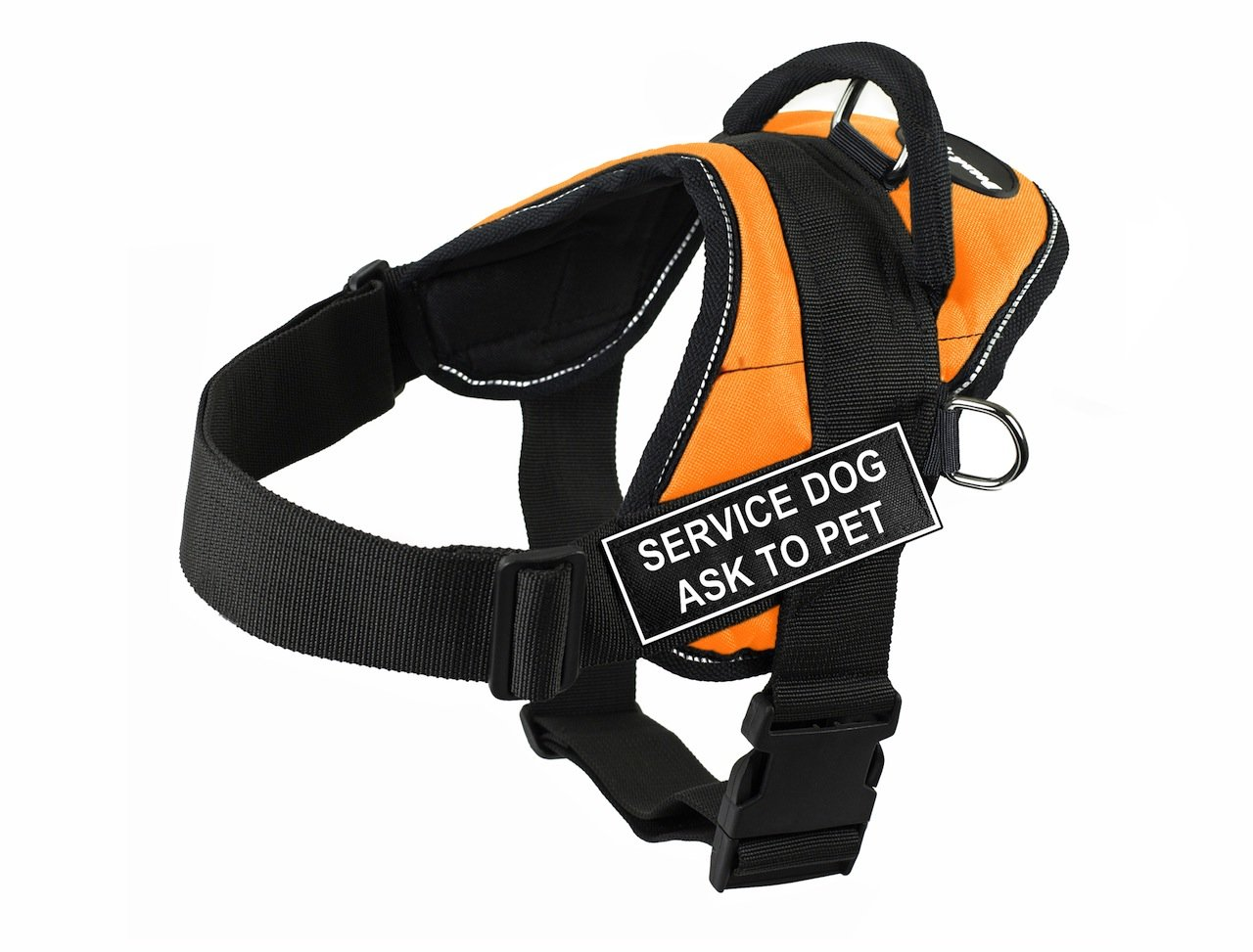 Dean & Tyler DT Fun Service Dog Ask to Pet  Harness with Reflective Trim, XX-Small, orange