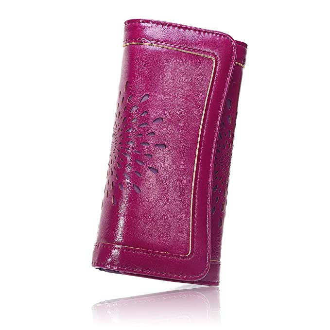 f28fc8331f56 APHISON Ladies Soft Leather RFID Long Wallet Trifold Clutch Purse Credit  Card Holder Case for Women With Gift Box