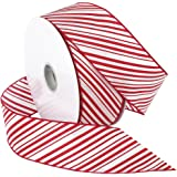 Morex Ribbon  2-1/2-Inch Wide by 50-Yard Spool Peppermint Stripe Wired Ribbon, Red/White