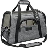 "Living Express Premium Airline Approved Pet Carrier,Soft Sided Tote with Fleece Puppy Bedding, perfect for kitty and puppy (17.5""L x 10""W x 11""H, Grey / Turquoise)"