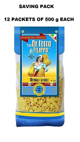 Pasta De Cecco Linea Gourmet - Ditali Rigati - Paquete familiar con 12 paquetes de 500