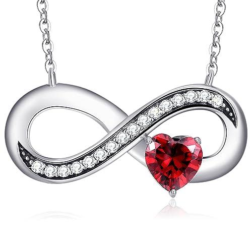 441fc2280df4 MEGA CREATIVE JEWELRY Collar Infinito para Mujer Plata 925 con Cristales  Swarovski Corazón Rojo  Amazon.es  Joyería