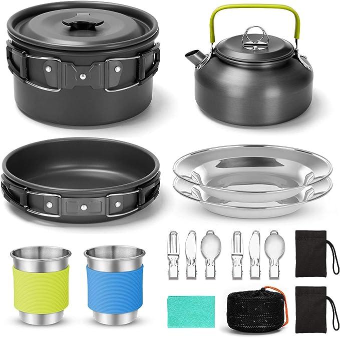 Odoland Kit de Utensilios de Cocina para Acampar de 15 Piezas para 1-2 Personas, Set de Ollas de Camping Antiadherentes con Tazas de Acero Inoxidable ...