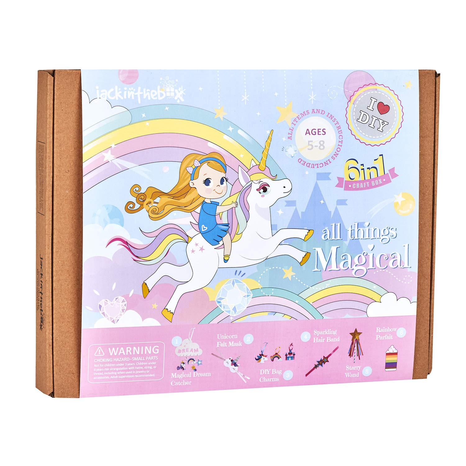 Unicorn Themed Art and Craft Kit for Girls | 6 Craft Projects-in-1 | Best Girl Gift for Ages 5 to 8 Years | Includes Beautiful Felt and Foam Embellishments by jackinthebox