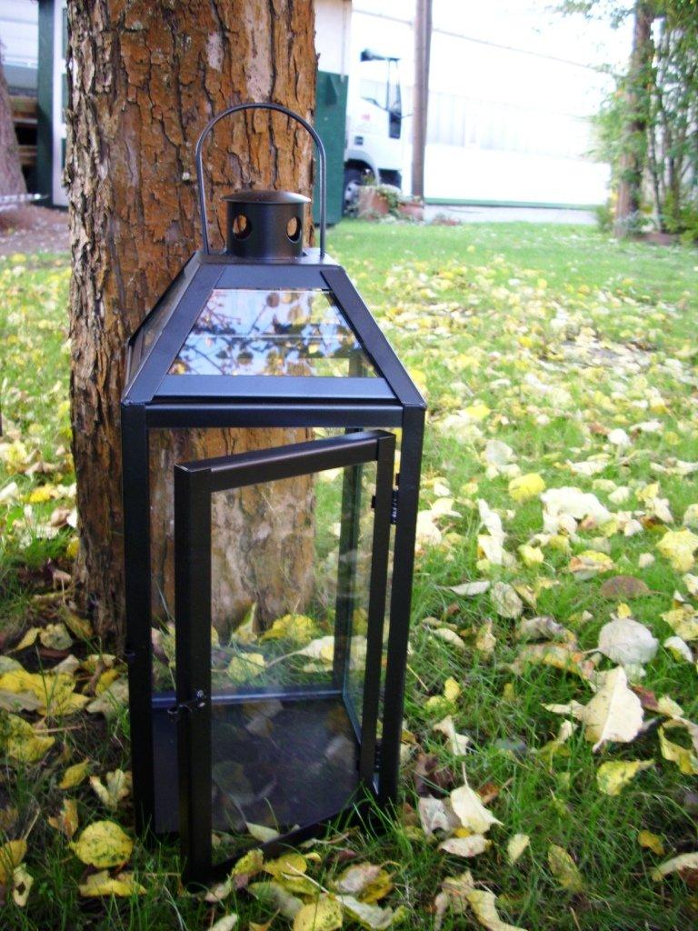 kuheiga Schwarze schwere stabile Laterne Windlicht, Echtglas