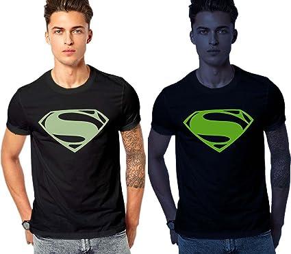 a8b67079c1dc35 Crazy Prints Mens Cotton Half Sleeves Superman Glow in Dark T Shirt (S)  Black