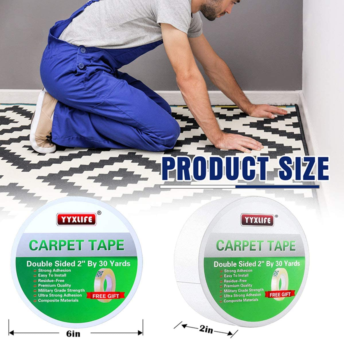 YYXLIFE Rug Tape Double Sided Carpet Heavy Duty Tape Carpet Adhesive Rug Gripper Removable Multi-Purpose Tape Cloth For Area Rugs, Outdoor Rugs, Carpets.Tape Carpet Adhesive, 2 Inch X 30 Yards, White - -
