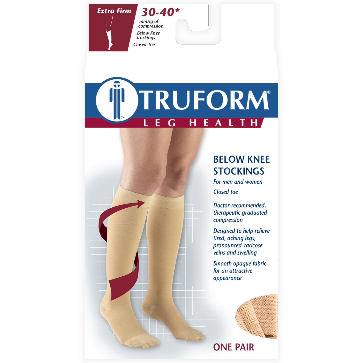 af98c29cc1029 Amazon.com: Truform 30-40 mmHg Compression Stockings for Men and Women, Knee  High Length, Closed Toe, Beige, Small: Health & Personal Care