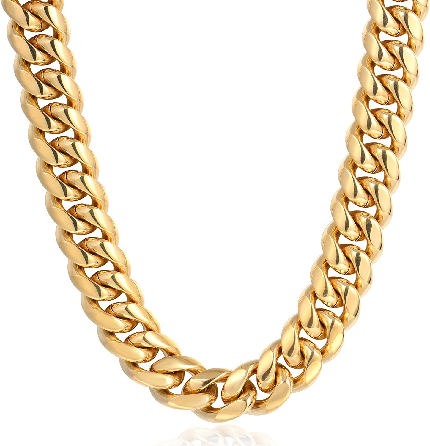 Tripod Heavy Thick Men's Miami Cuban Link Chain- 18K Gold Plated Stainless  Steel 10mm-14mm (10mm30inches) | Amazon.com